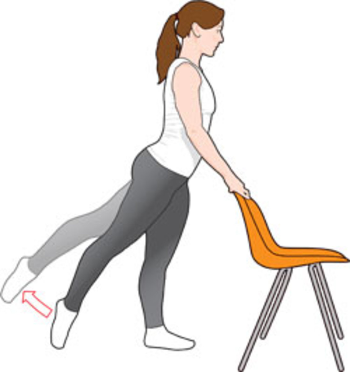 basic leg lifts demonstrated in an illustration of a female with an orange chair