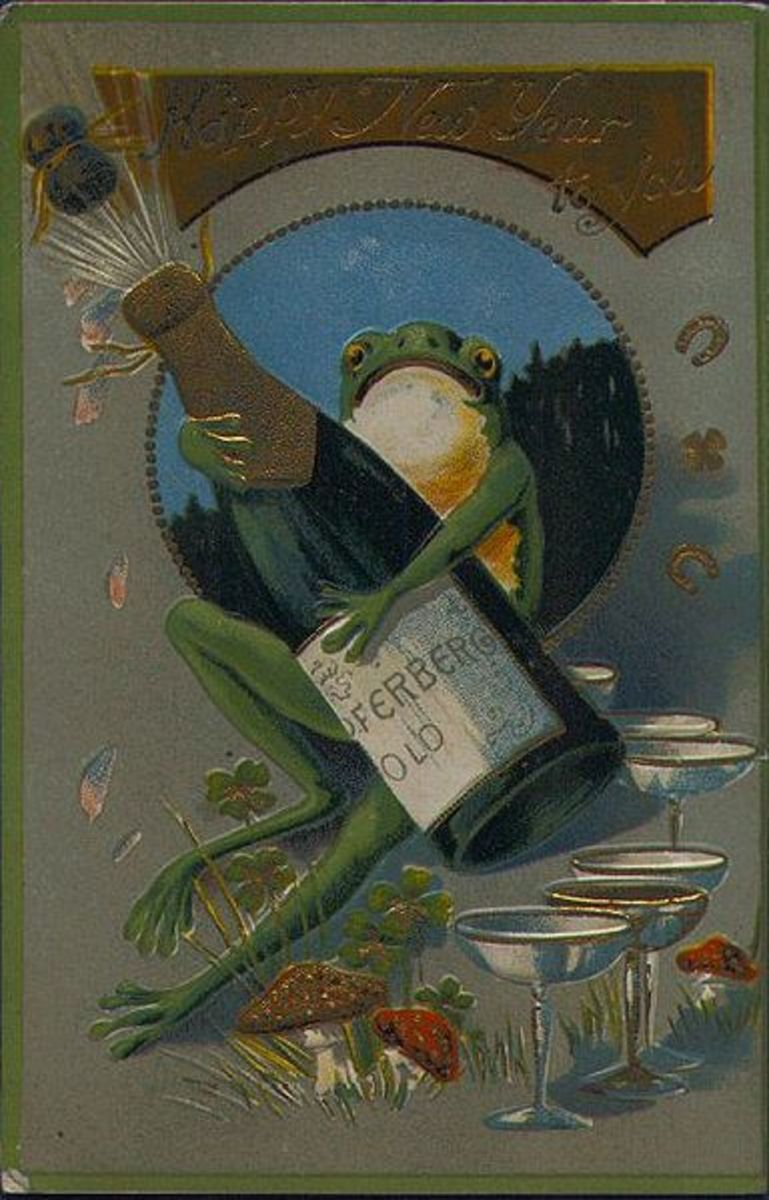 What a great postcard!  Made in 1908, that says, Happy New Year to You!