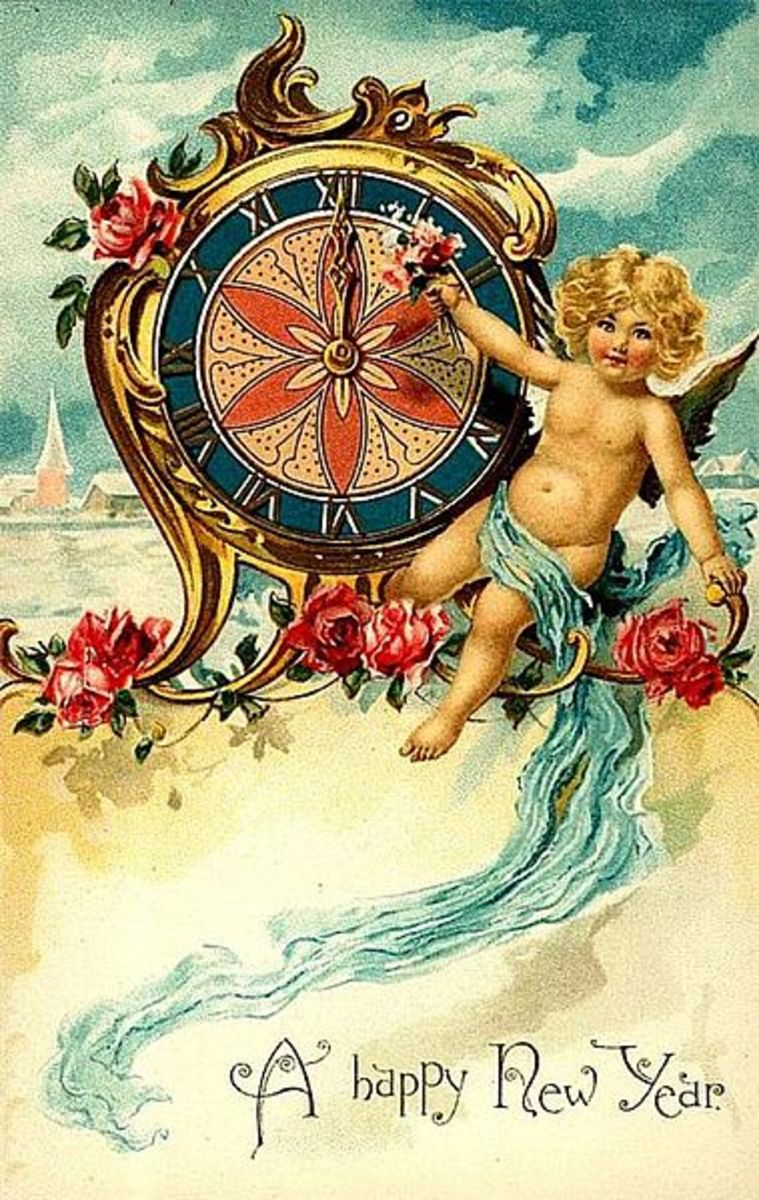 I love these old, vintage postcards with this kind of art.  This one is from around 1900.