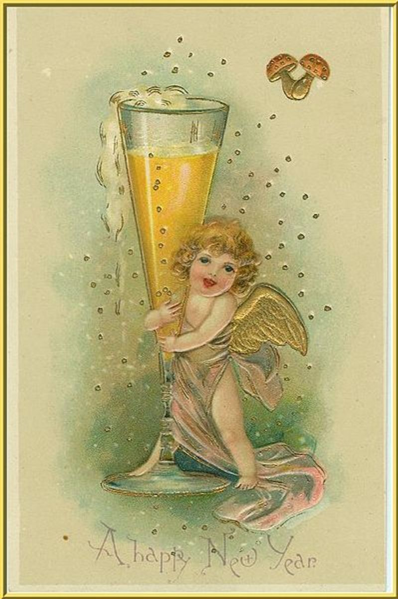 A sweet little angel holding hugging what seems to be a glass of champagne!  A sweet old vintage post card. Likely published between 1900 and 1920.
