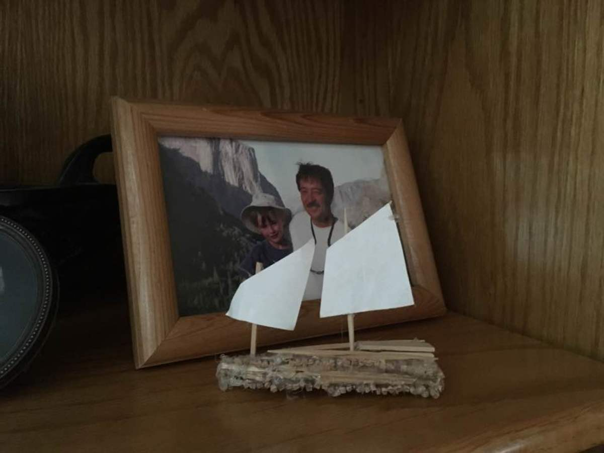 Last but not least, even if I cheated. Not popsicles, but the same spirit in toothpicks, behind a photo of me as a child and my father. He will always be missed.