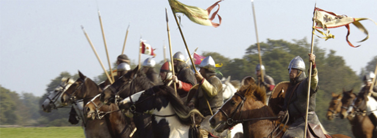 The Charge - nearest is Count Eustace of Boulogne (brother-in-law of the old king) with the Pontiff's crossed keys banner