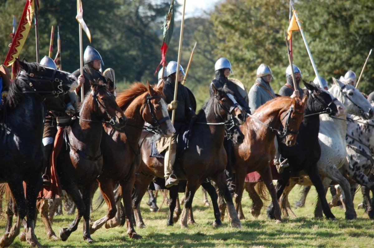 Norman cavalry assembles before the attack on King Harold;s hilltop shieldwall