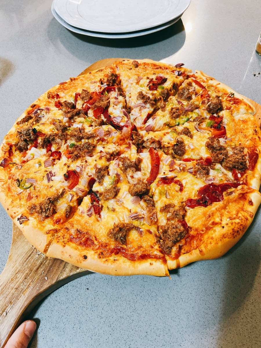 Homemade pizza with veggies and beyond beef. A delicious family favorite!