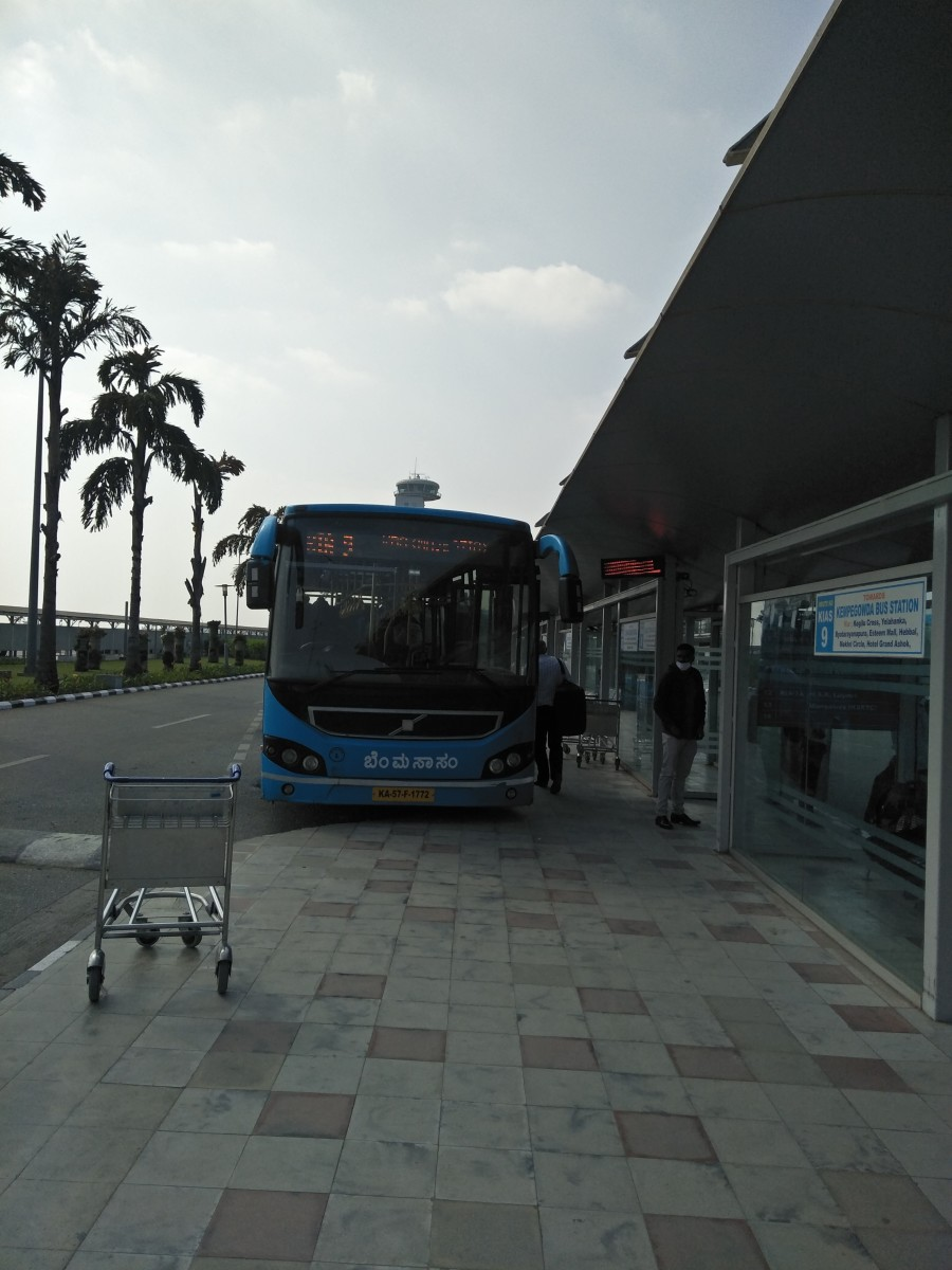 BMTC's Vayu Vajra Air-conditioned Shuttle Bus Service operating from Bengaluru's Kempegowda International Airport's BMTC Bus Terminal