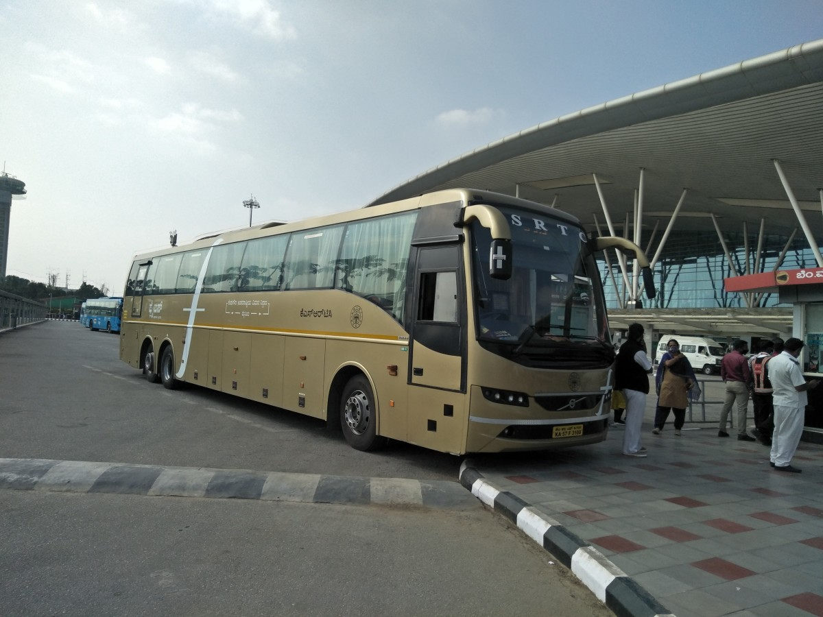 KSRTC's Flybus inter-city shuttle parked at Bengaluru's Kempegowda International Airport's BMTC Bus Terminal