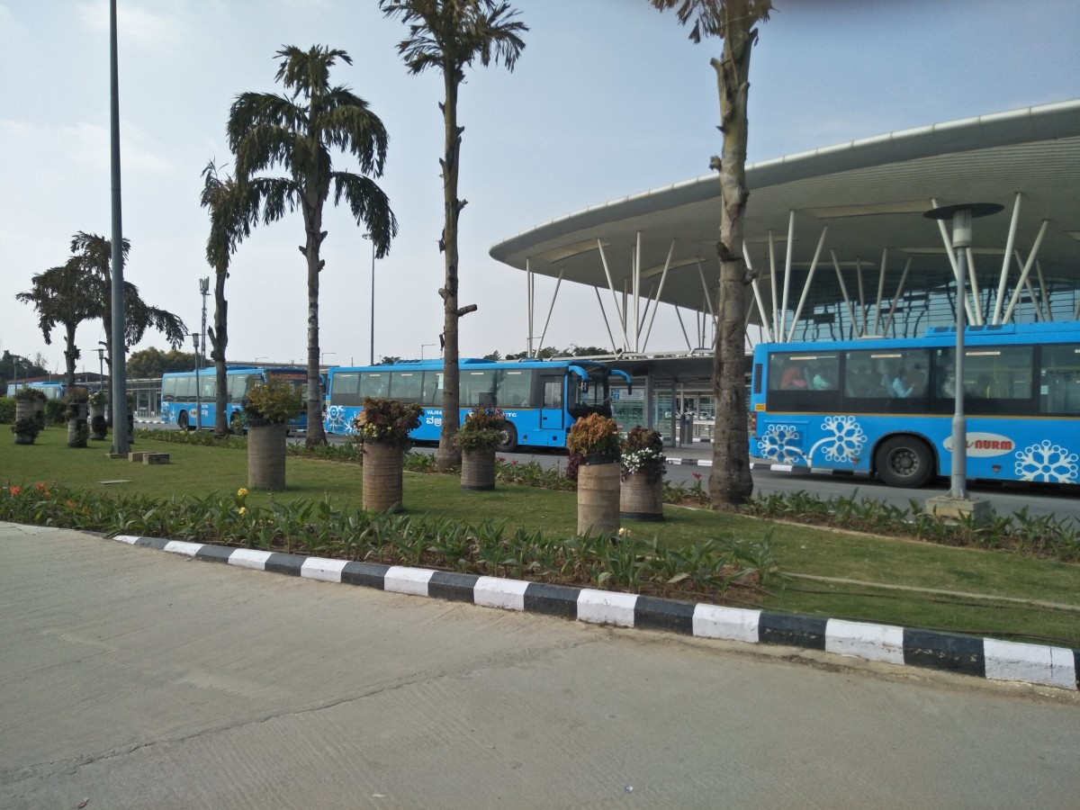 BMTC's Vayu Vajra Air-conditioned  Shuttle Buses parked at Bengaluru's Kempegowda International Airport's BMTC Bus Terminal