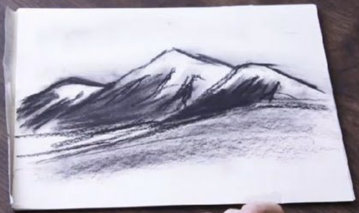 A smudged charcoal sketch.