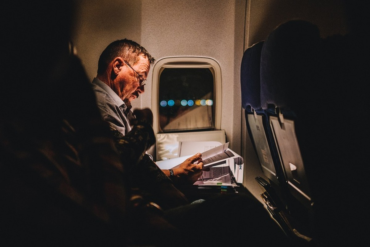 Reading a book in flight!