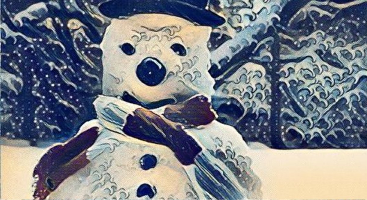 This is Slushy, the snowman, who I built many years ago in my back garden.  Sadly, he went the way of all slush - so I've immortalised him in this artwork with the aid of an online editor.