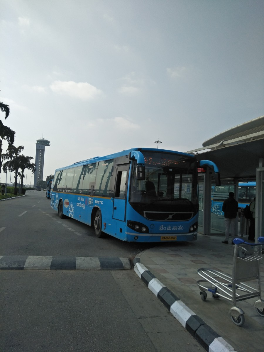 BMTC's Vayu Vajra Shuttle Bus operating from Bengaluru's Kemegowda International Airport BMTC Bus Terminal