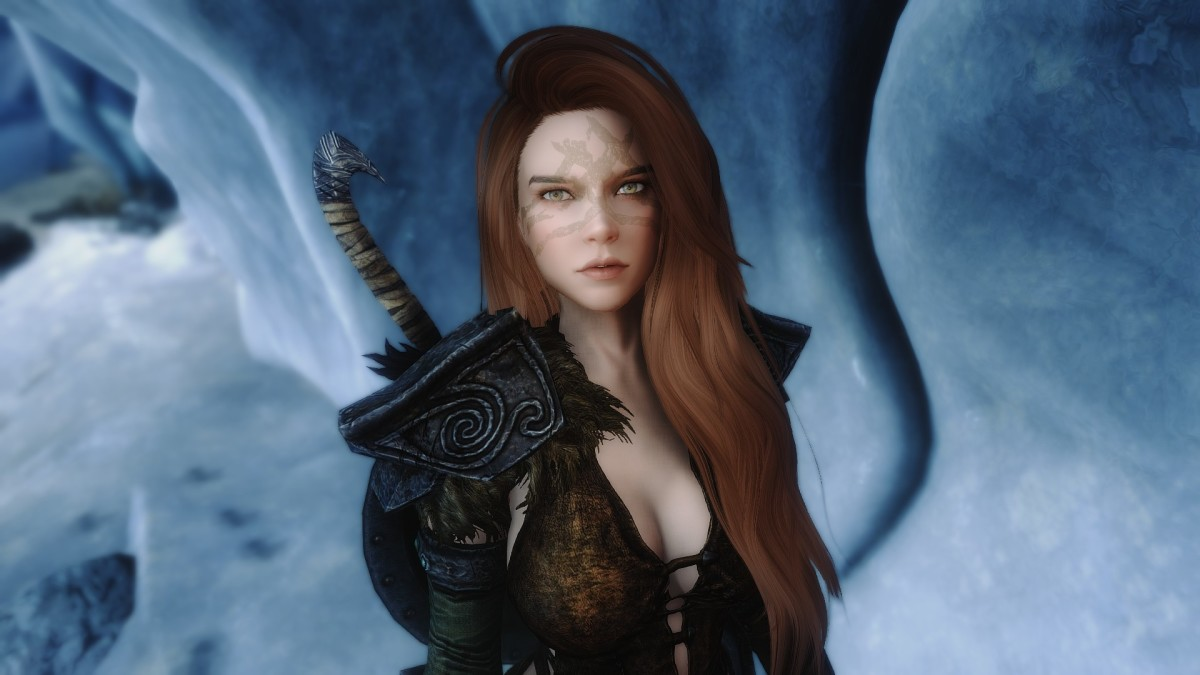 Aela the Huntress in Skyrim's Special Edition with a mod.