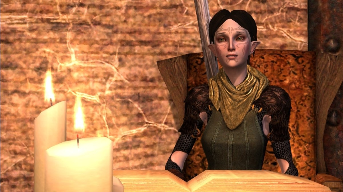 "Merrrill at home in ""Dragon Age 2."""