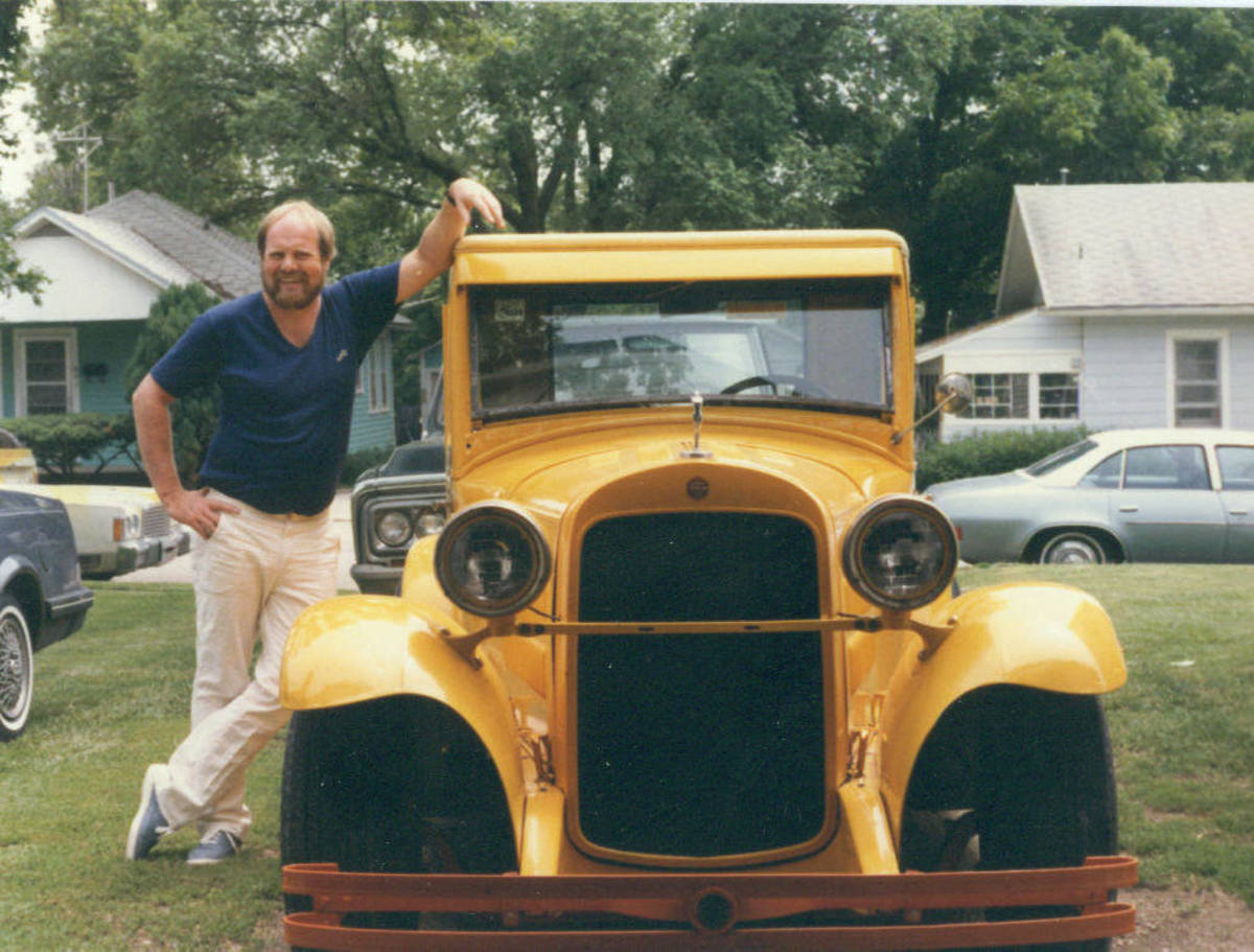 My brother with the yellow Essex that he lovingly restored and modified.