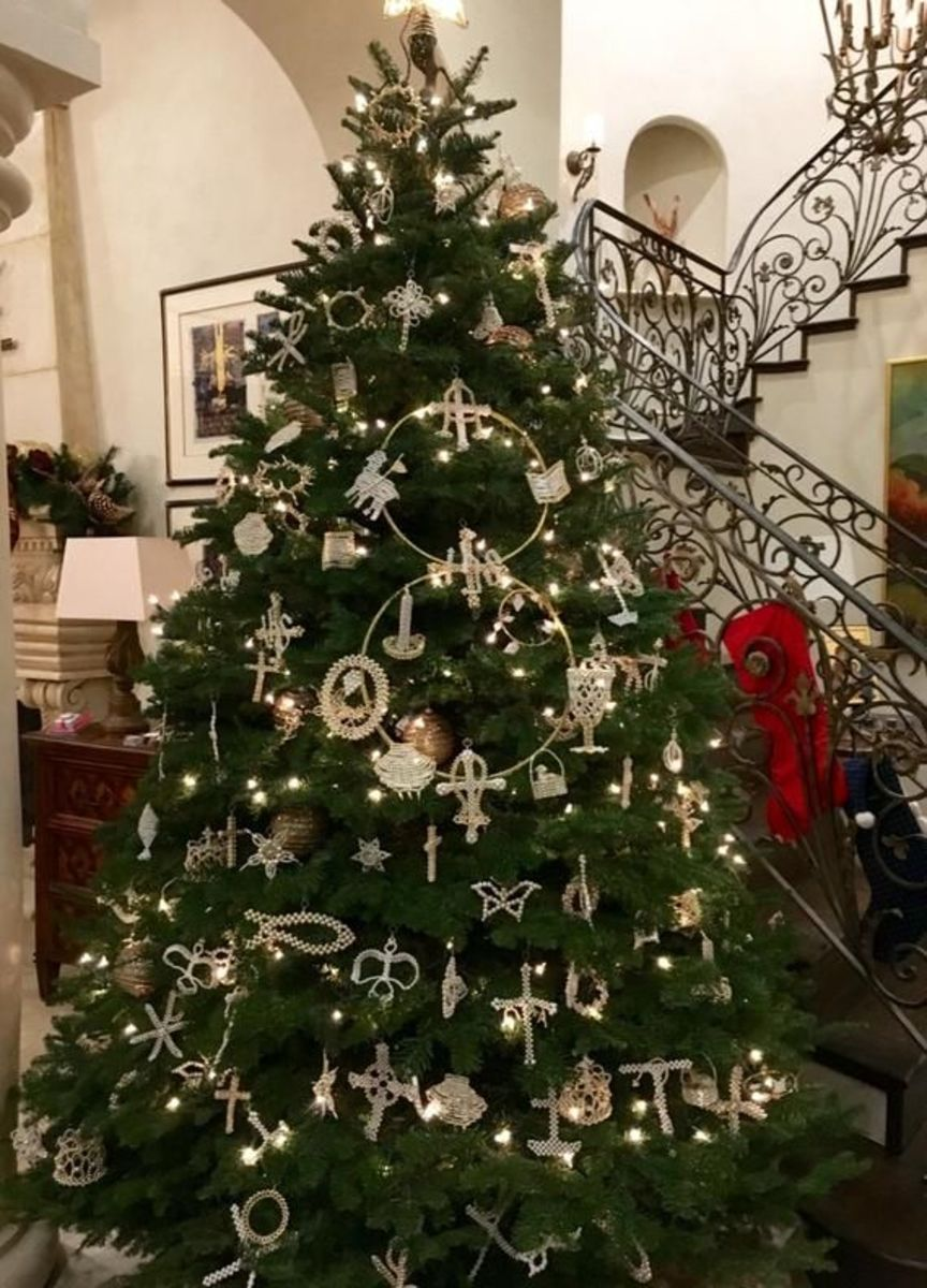 A Christmas tree covered in Chrismon ornaments