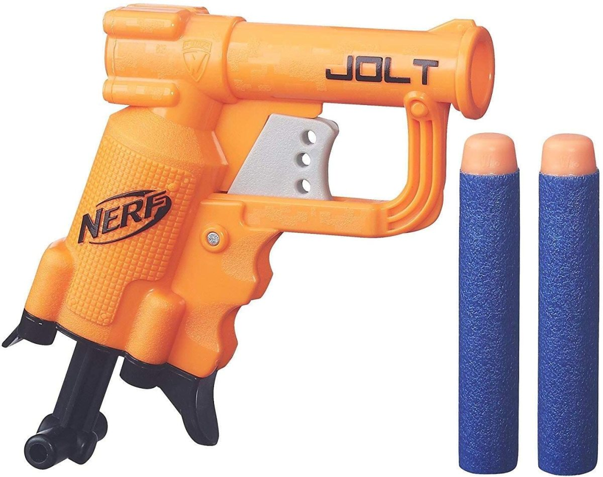 A blaster of this size and weight would be easy to use for a child who's 4 or 5 years old.