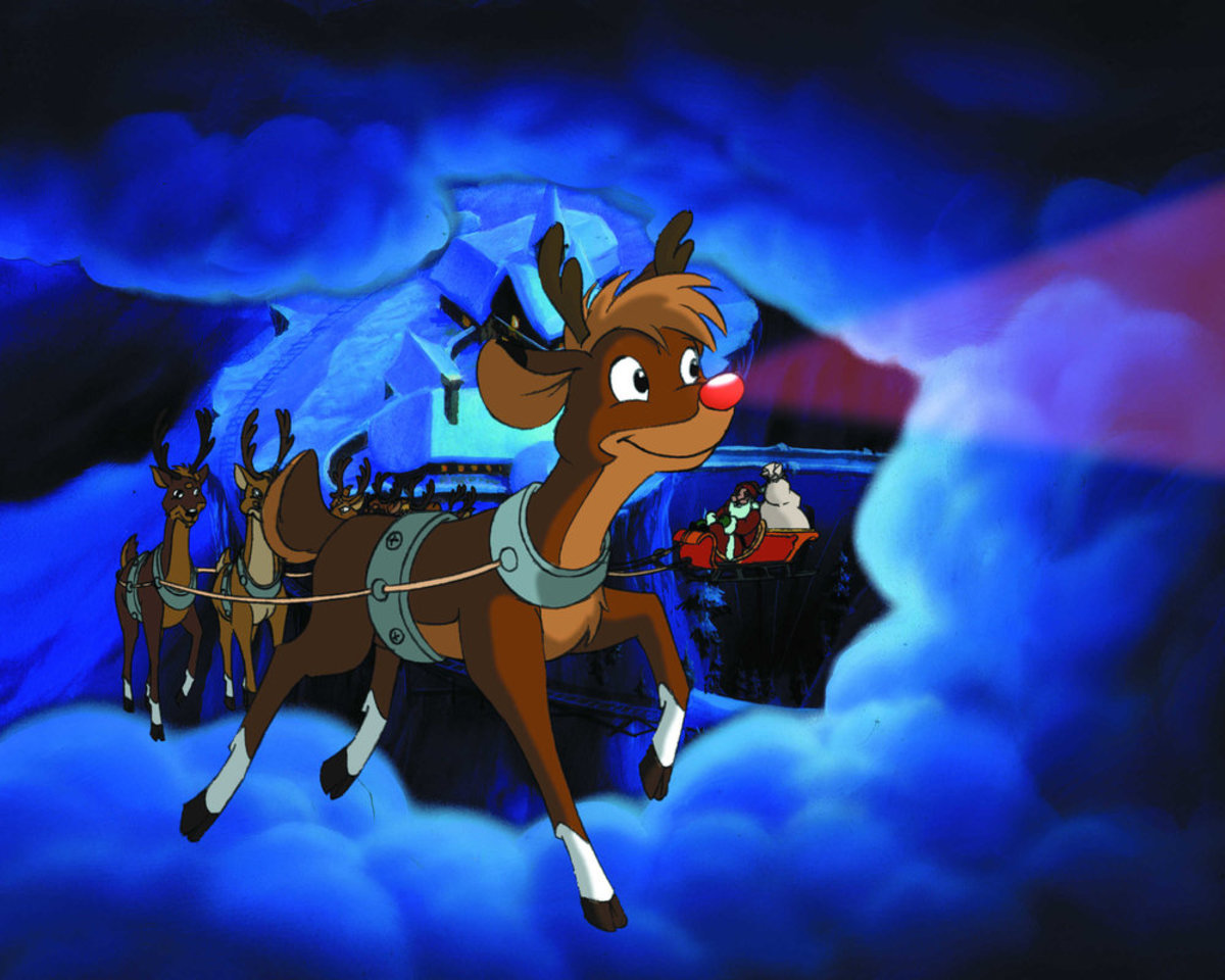 Rudolph leading the sleigh