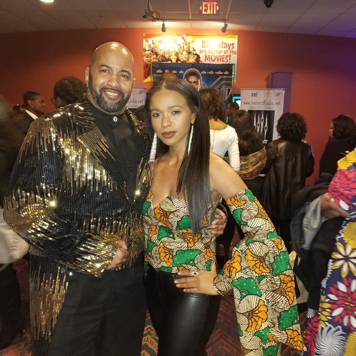 Troy pictured here with co-patriot actress, Laketa Booker, at the 'Black Panther' movie premiere.