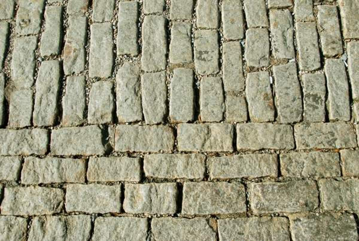 Re-Laid Cobblestone Street - Obviously the care used ages ago is not present in these newly re-laid cobblestones