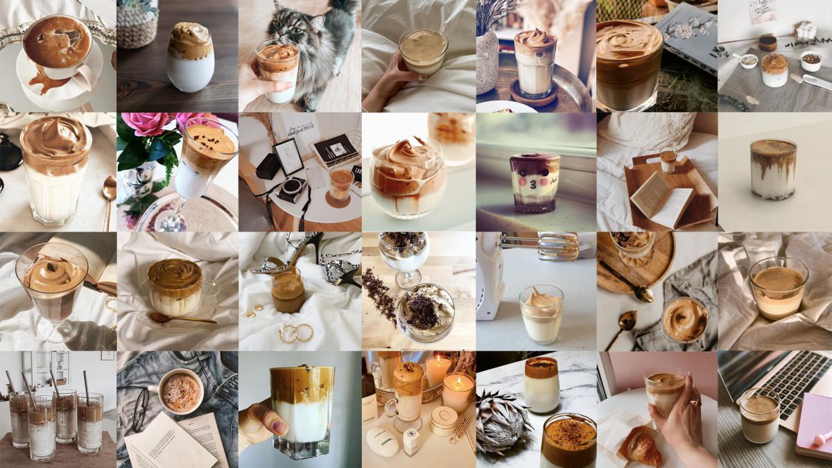 Compilation of Dalgona Coffee photos on Instagram..