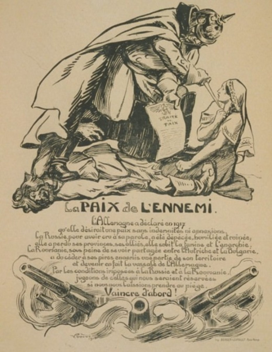 A French poster during the war decrying the harshness of German terms to Russia and Romania and urging to fight until final victory.