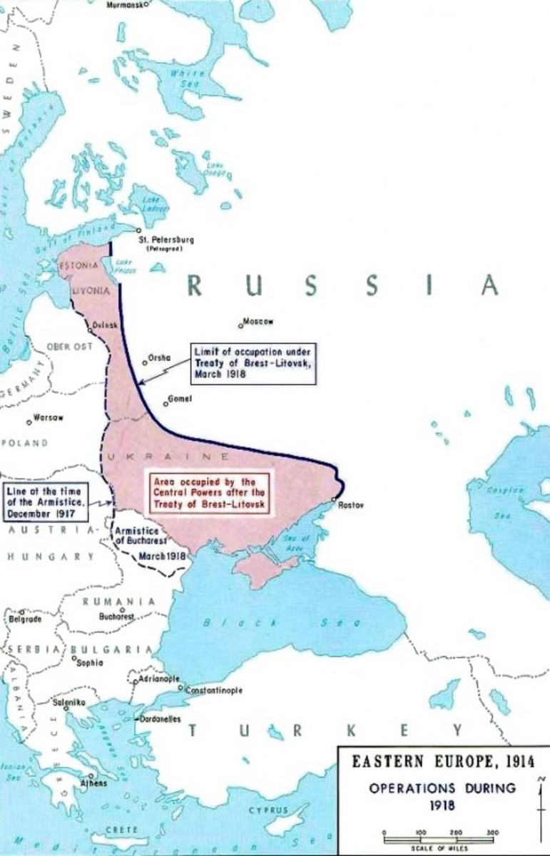 The Treaty of Brest Litovsk : note that Poland and Lithuania were already occupied.