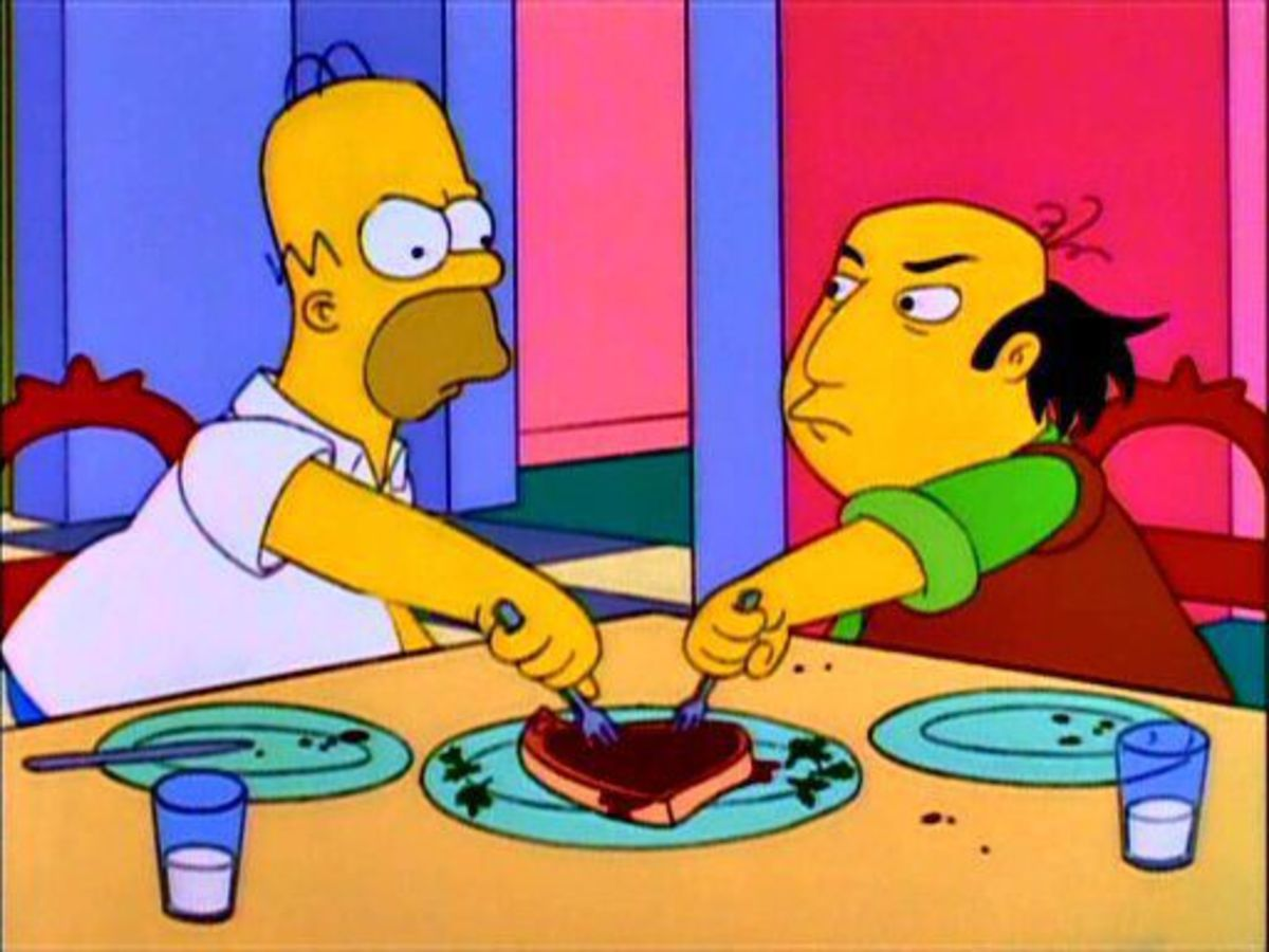 Homer Simpson and Jay fight over the last porkchop