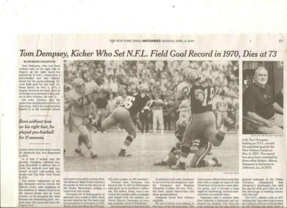 New York Times article about Tom Dempsey's death