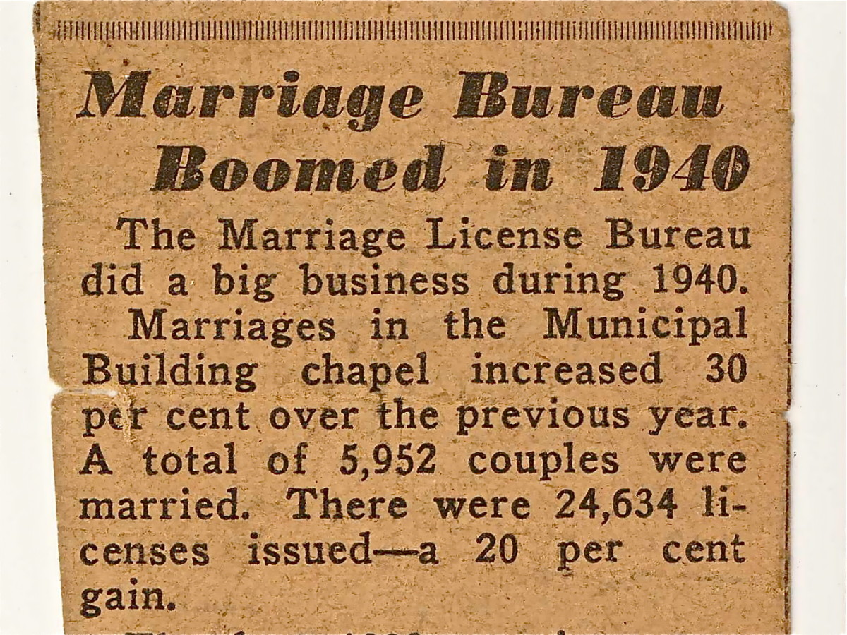 News clipping from Jan. 1 1941. Marriages increase as couples anticipate wartime separation.