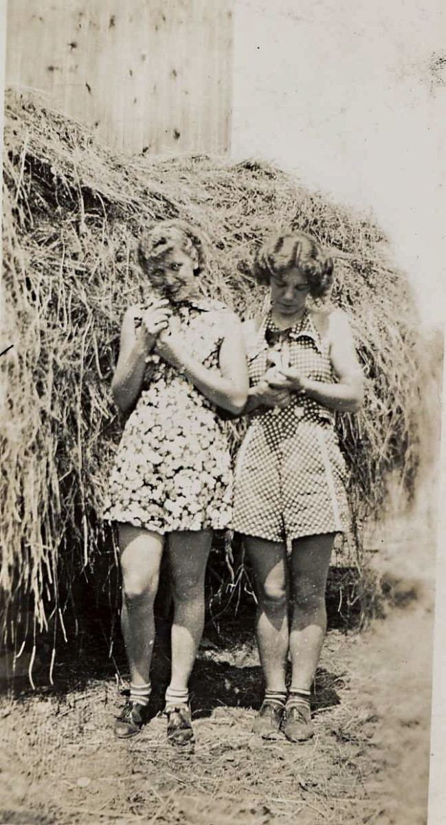 Francie (right) and her friend Olga on the farm.