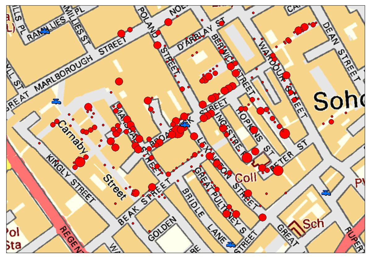 Dr.John Snow's famous cholera analysis data in modern GIS formats