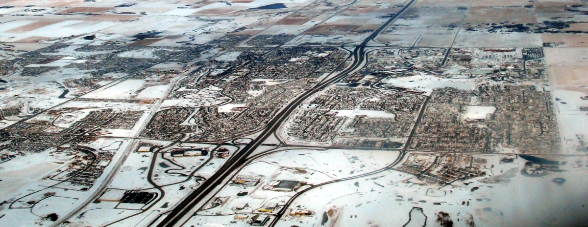 Aerial view of the city of Airdrie, Alberta, Canada