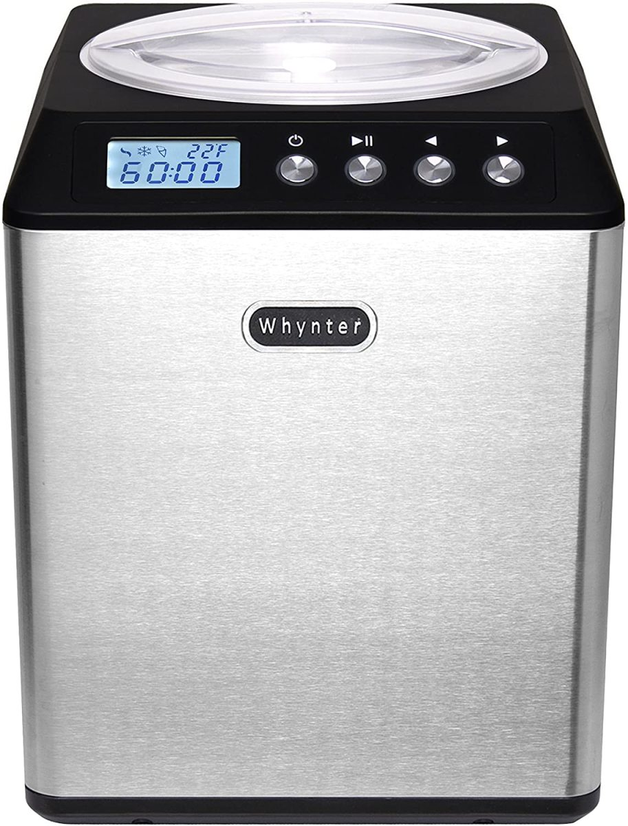 The Whynter ICM-201SB Upright Automatic Ice Cream Maker 2 Quart Capacity Built-in Compressor.