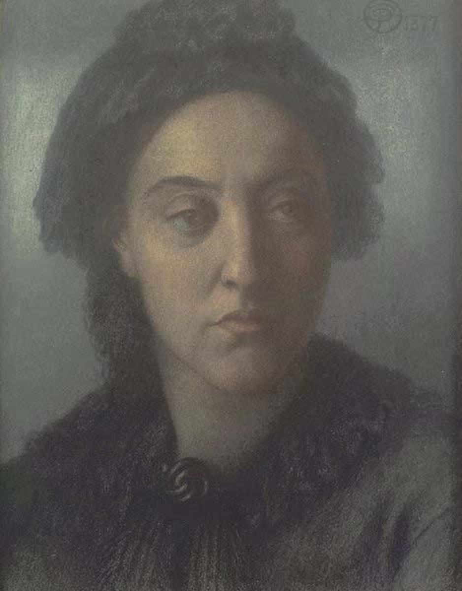 Portrait of Christina Rossetti By Artist Dante Gabriel Rossetti 1877