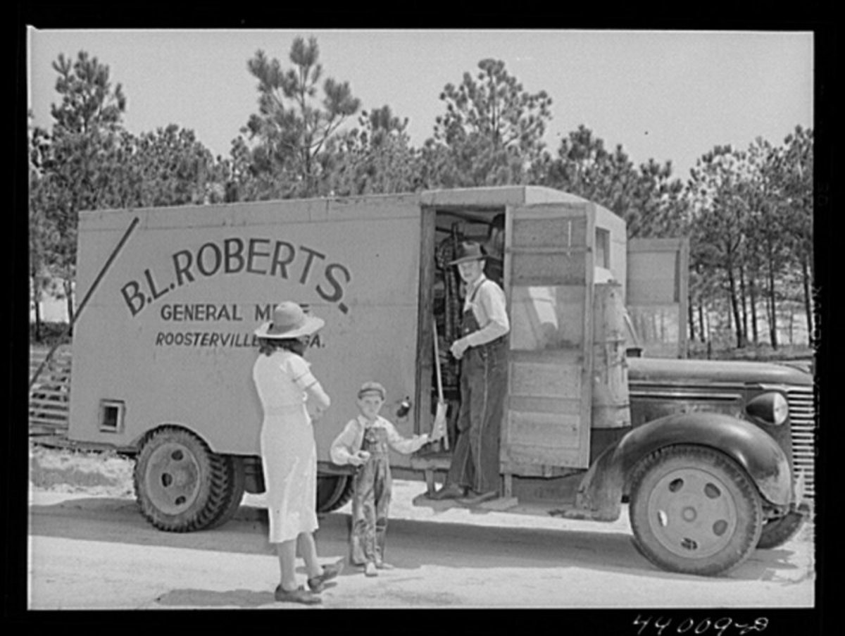 The south saw many of these rolling stores who went from home-to-home selling most any goods that the families needed.