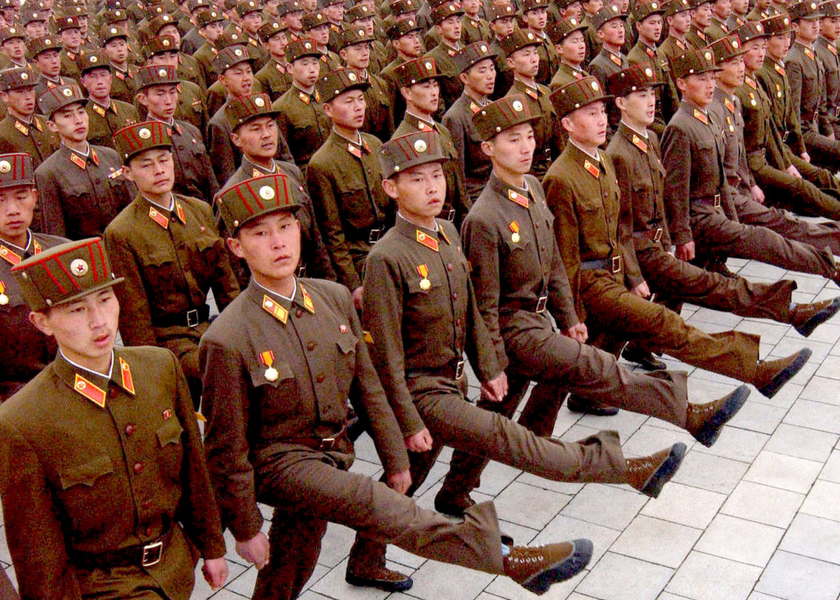 LIKE ALL GOOD SOCIALIST ARMIES, NORTH KOREA PRACTICES THE GOOSE STEP