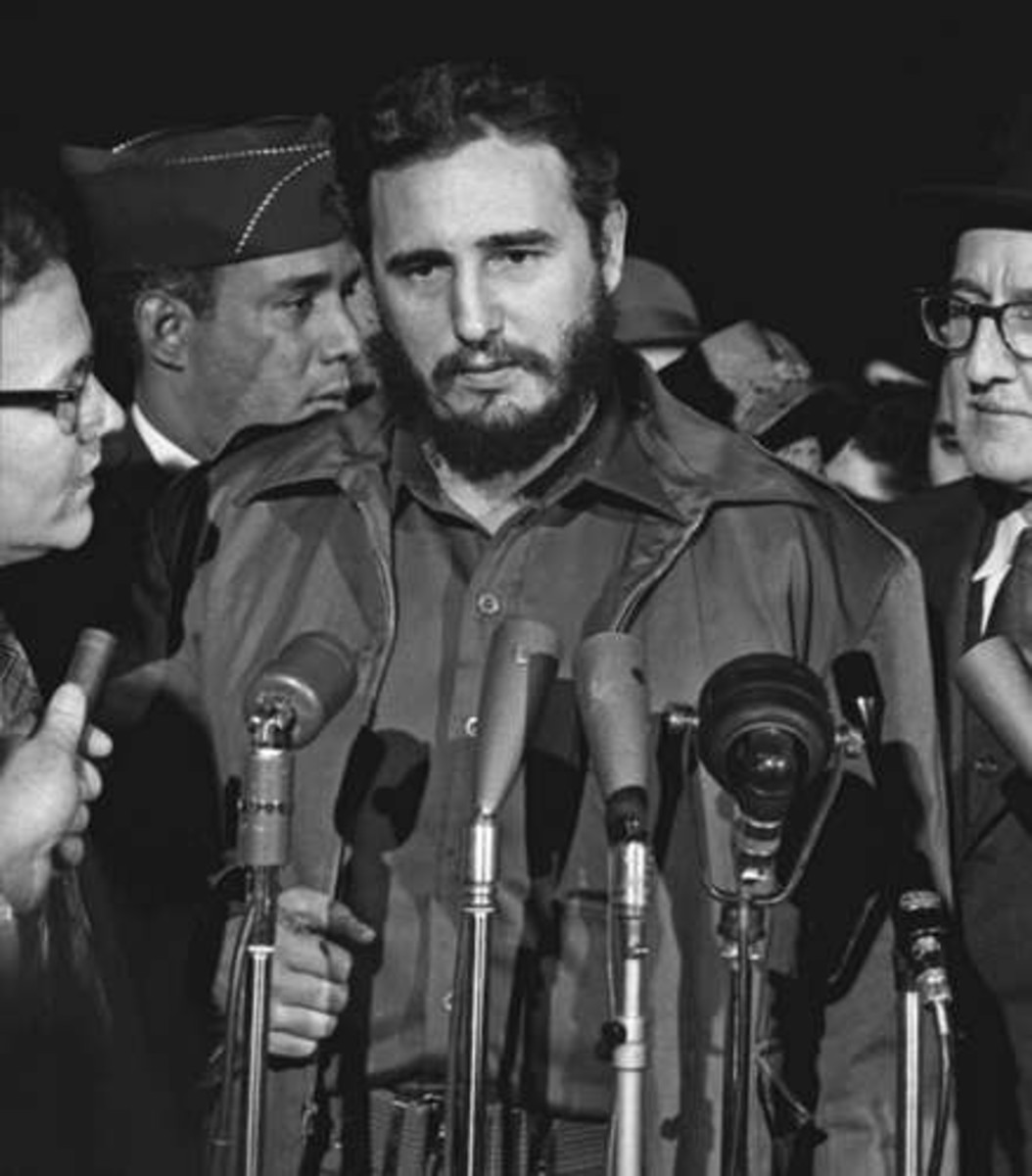 Fidel Castro stands in front of a podium.