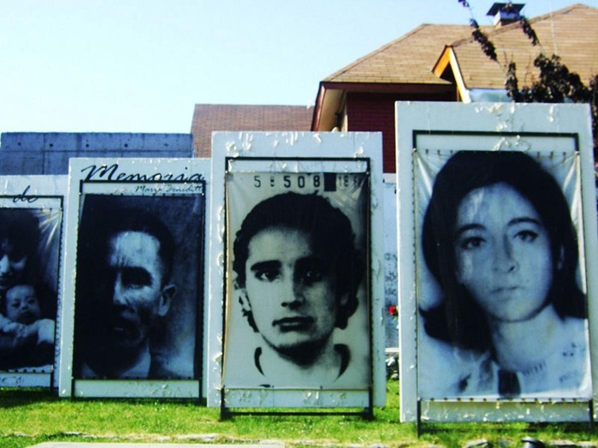 These are photos of disappeared people in art at Parque por la Paz at Villa Grimaldi in Santiago de Chile by Razi Sol.