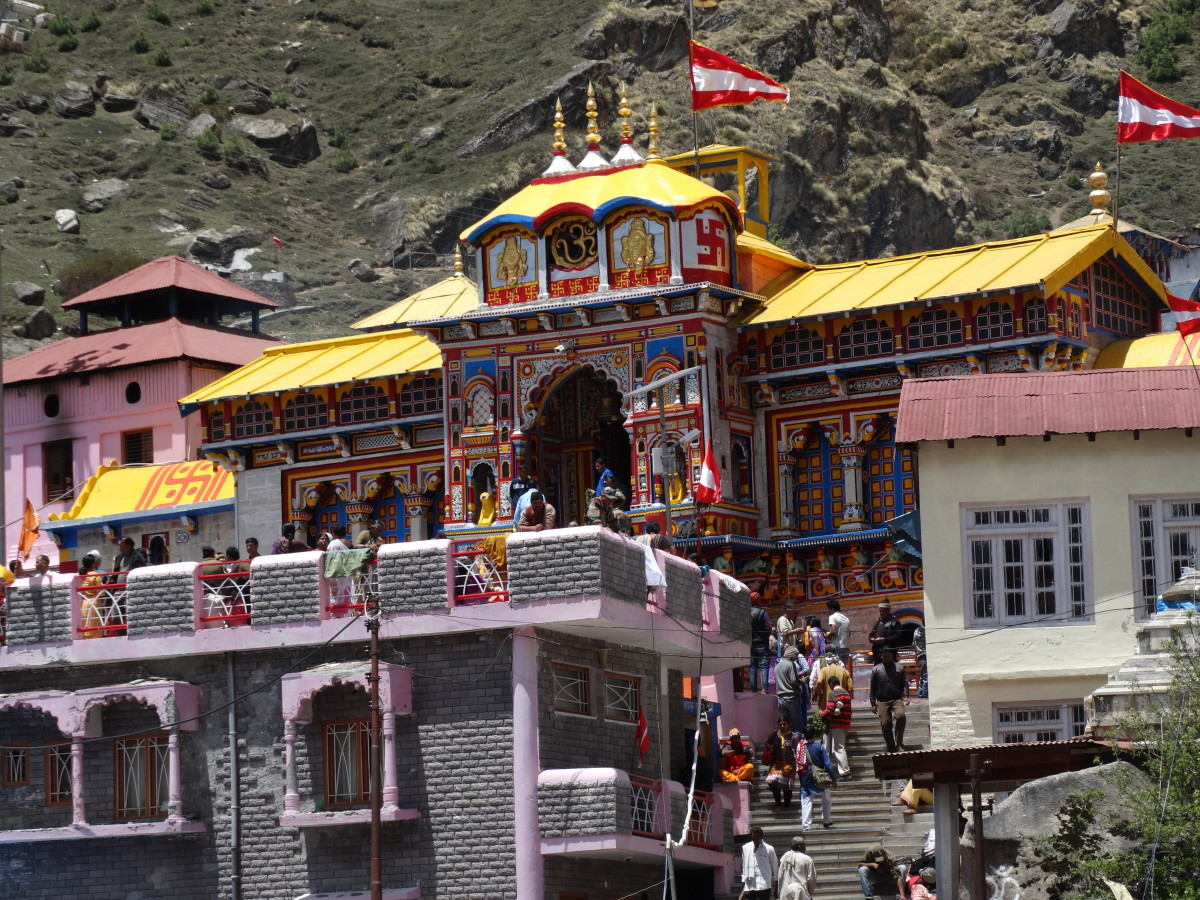 Badrinath temple : 30.7433 degrees North, 79.4938 degrees East.