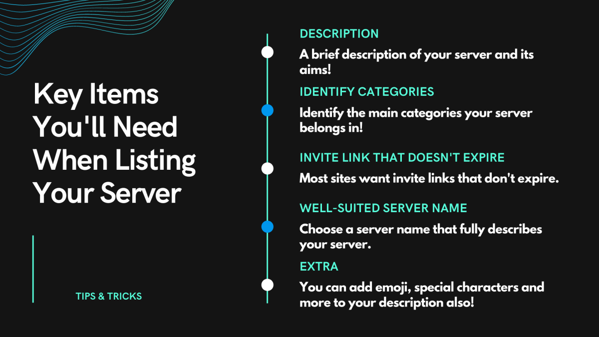 Some key items you'll need when listing your server