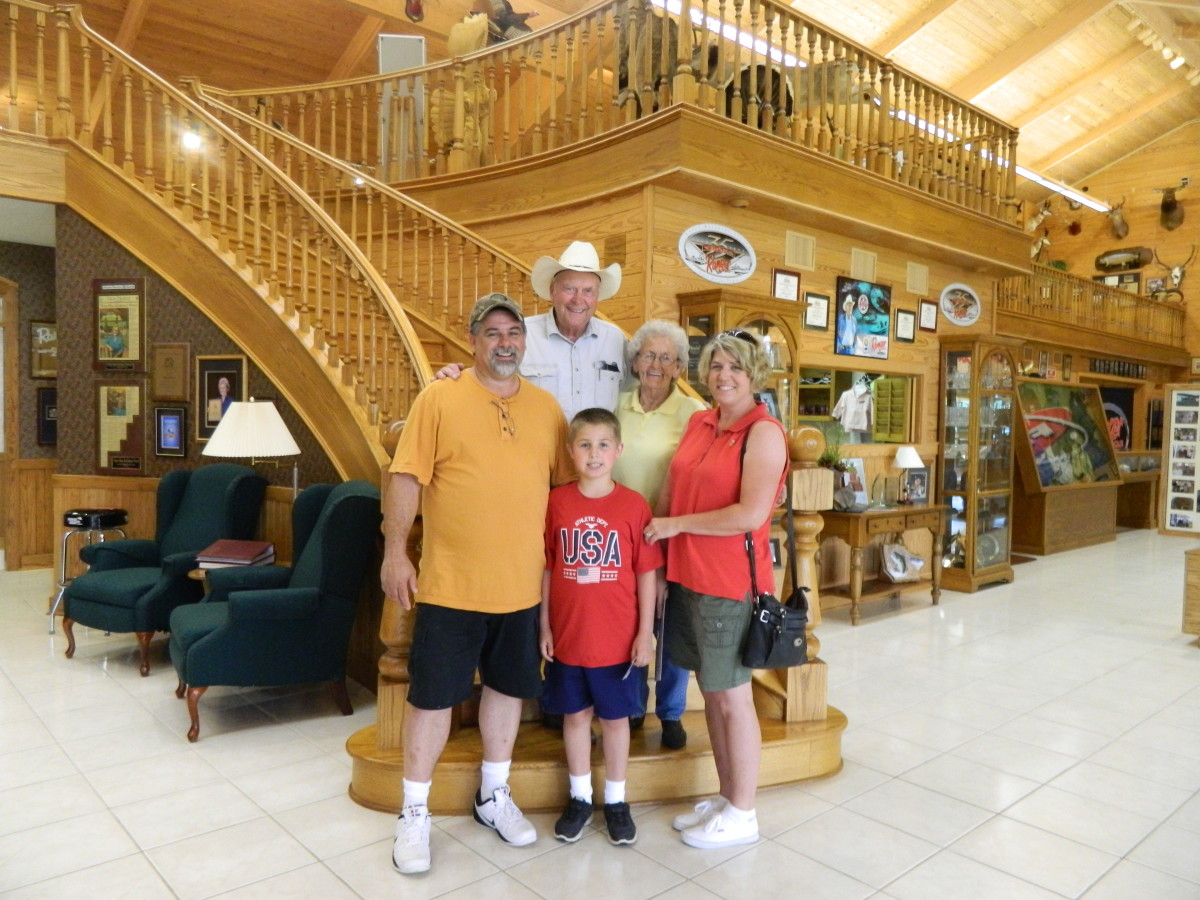 Forrest, Nina, and my family at his museum in Flippin. 2015