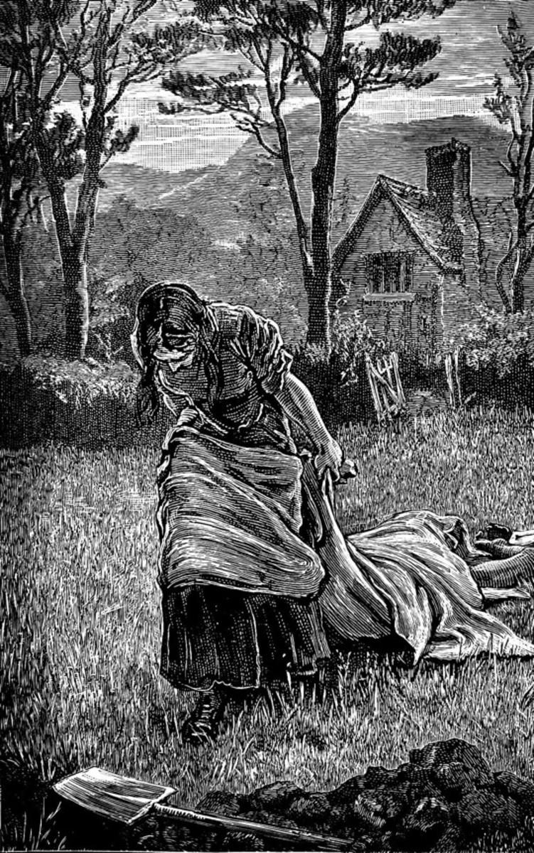 Elizabeth Hancock dragging a body of a family member to bury them.