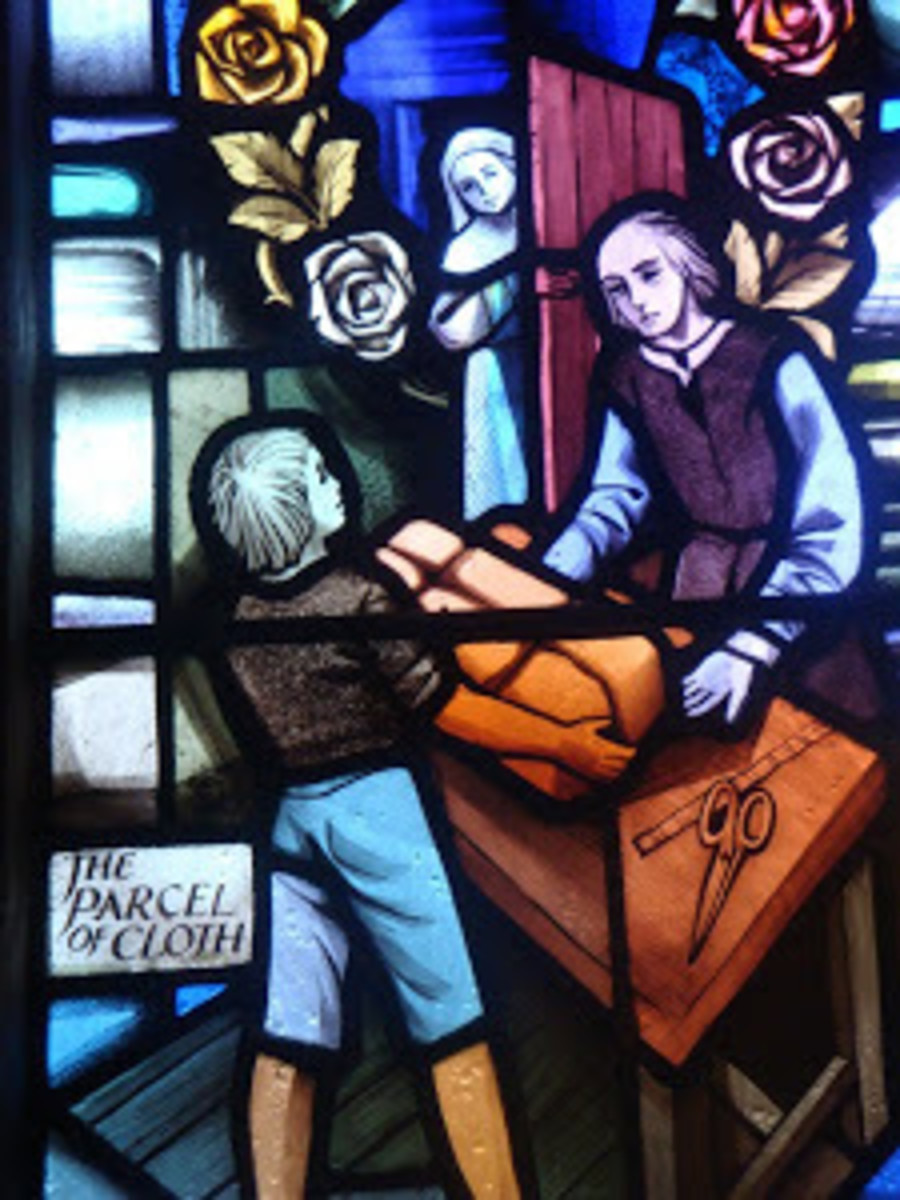 A stained glass window in St Lawrence's church showing the infected cloth being opened.