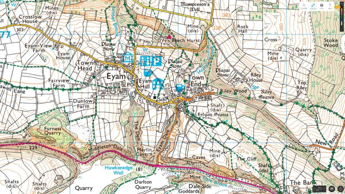 OS Map of Eyam showing local features.