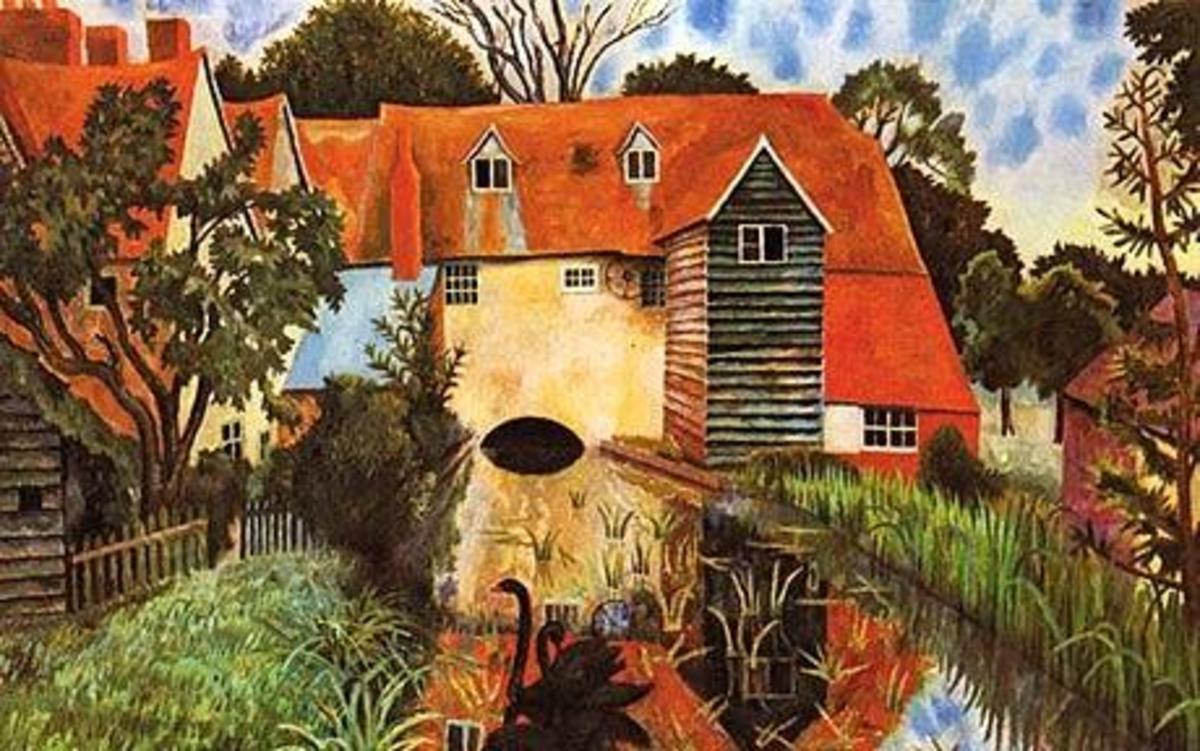 The Mill at Tidmarsh, where Carrington and Lytton Strachey lived..by Dora Carrington