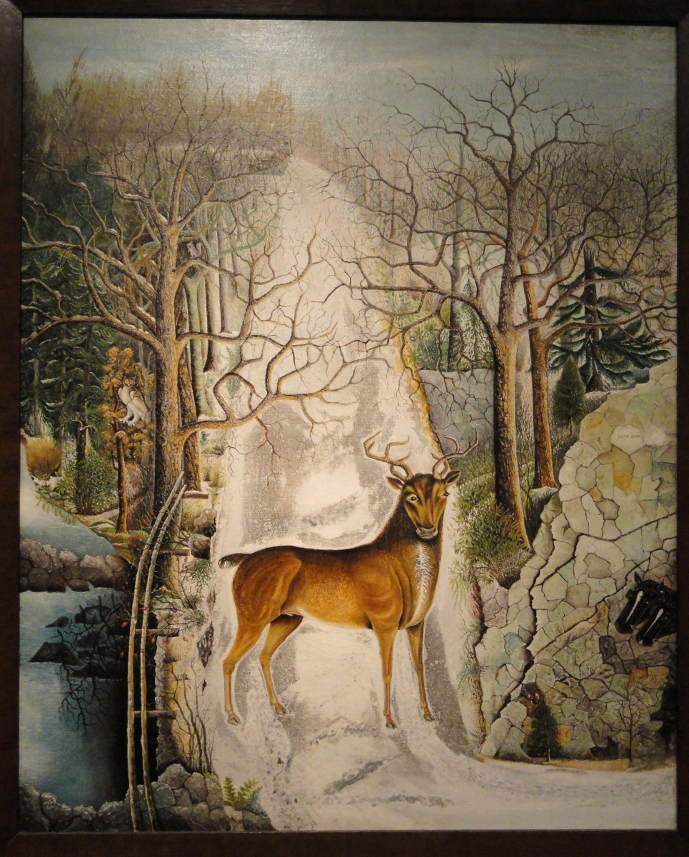 Stag at Echo Rock, oil painting on canvas, late 19th century, artist unknown. Folk art in the Smithsonian American Art Museum (National Portrait Gallery), Washington, DC, USA.