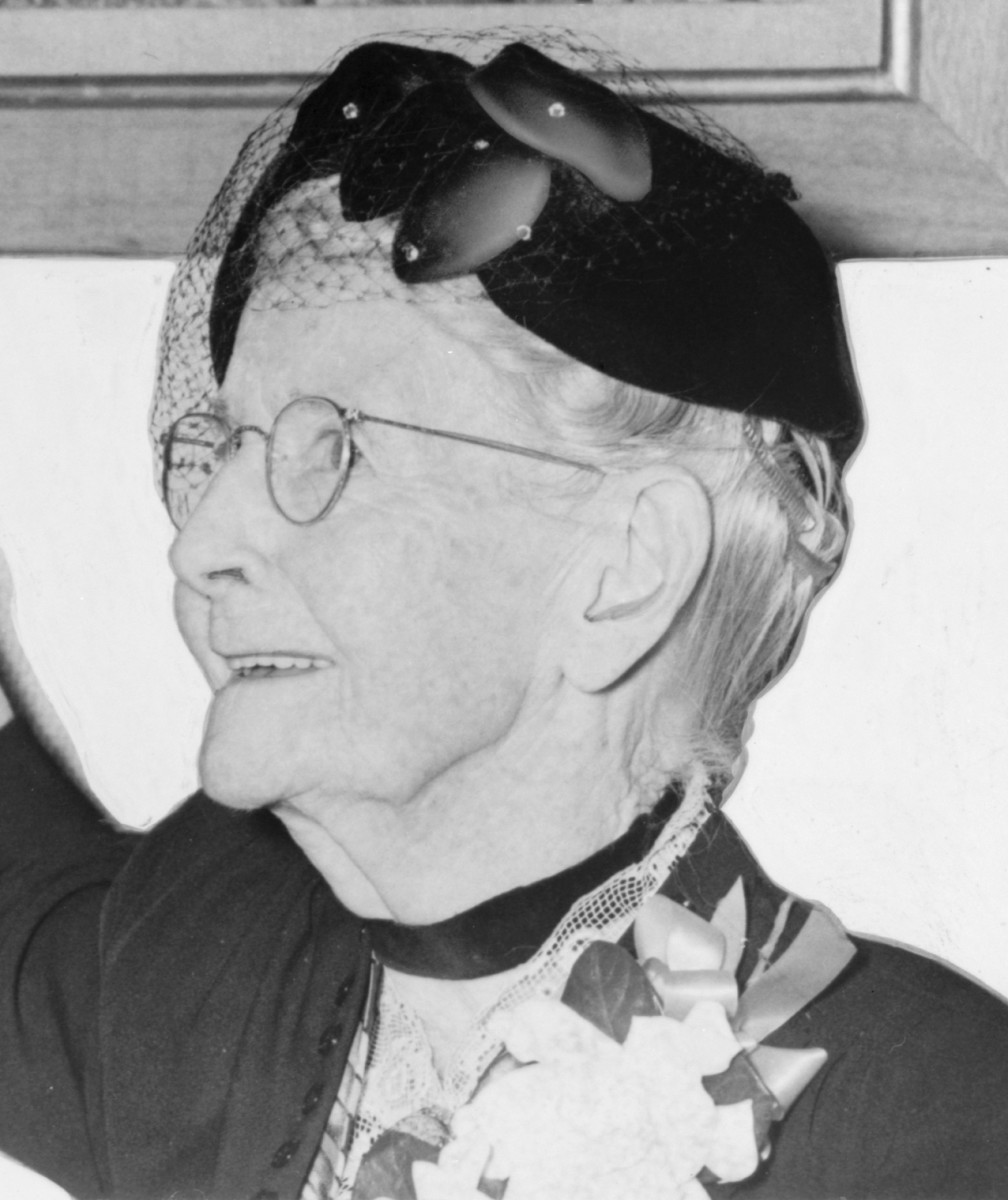 """Anna Mary Robertson Moses (1860-1961), was known as """"Grandma Moses."""" She was in her late 70's when she began her career as a folk artist. In 1953, her picture appeared on the cover of Time magazine."""
