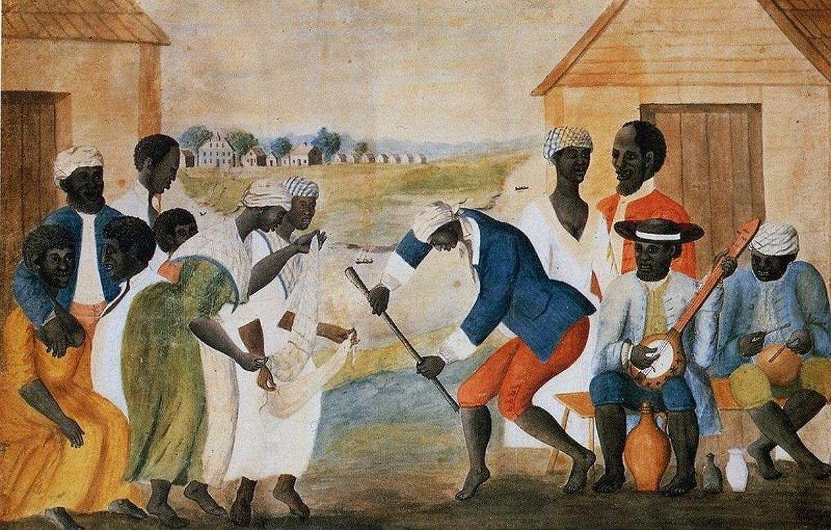 The Old Plantation, ca. 1790-1800. en: Watercolor by unidentified artist. Original painting in Abby Aldrich Rockefeller Folk Art Museum, en: Williamsburg, Virginia, USA.