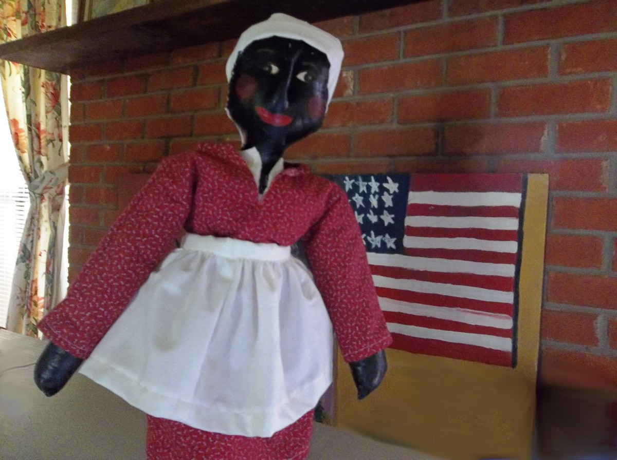 """Mrs. Agnes Brown,"" is one doll who loves to celebrate freedom! Be sure to read more, below, about the creator of this beauty, Sybil Butler Reddick."