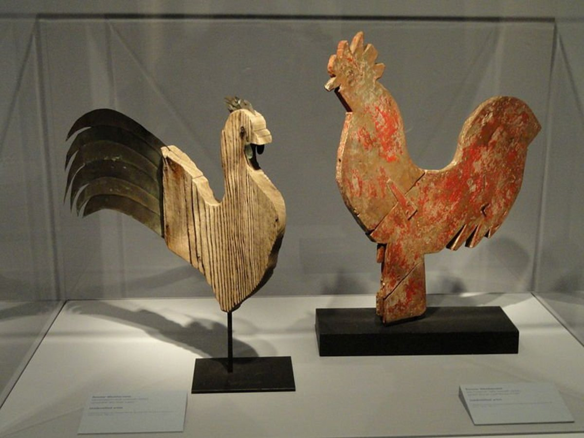 Rooster weathervanes, late 19th - early 20th century, artists unknown. Smithsonian American Art Museum (National Portrait Gallery), Washington, DC, USA.